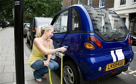 girl charging electric car