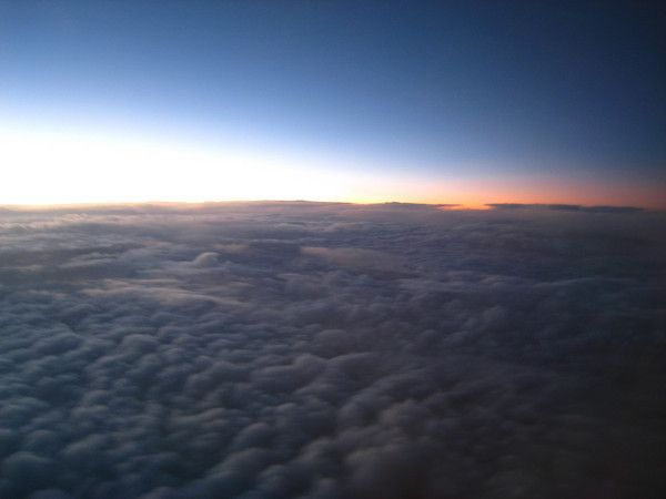 Dramatic Sunset above the clouds