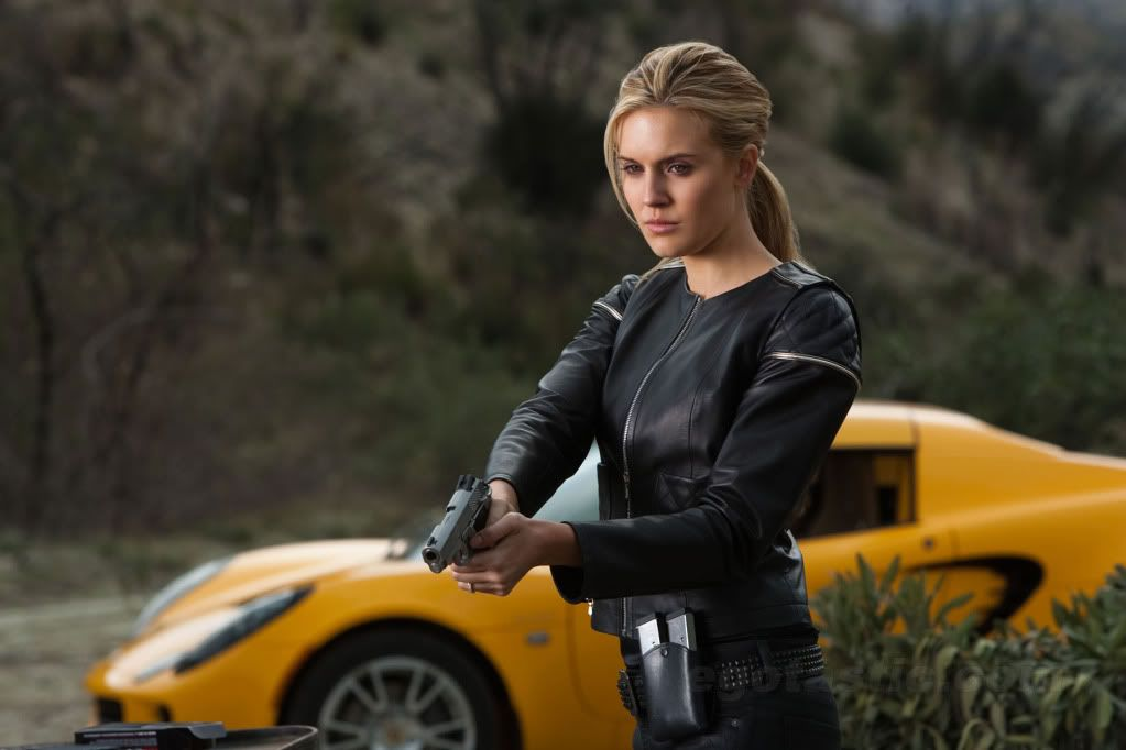 Maggie Grace Faster with gun and Lotus Elise