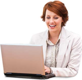 redheaded lady using laptop
