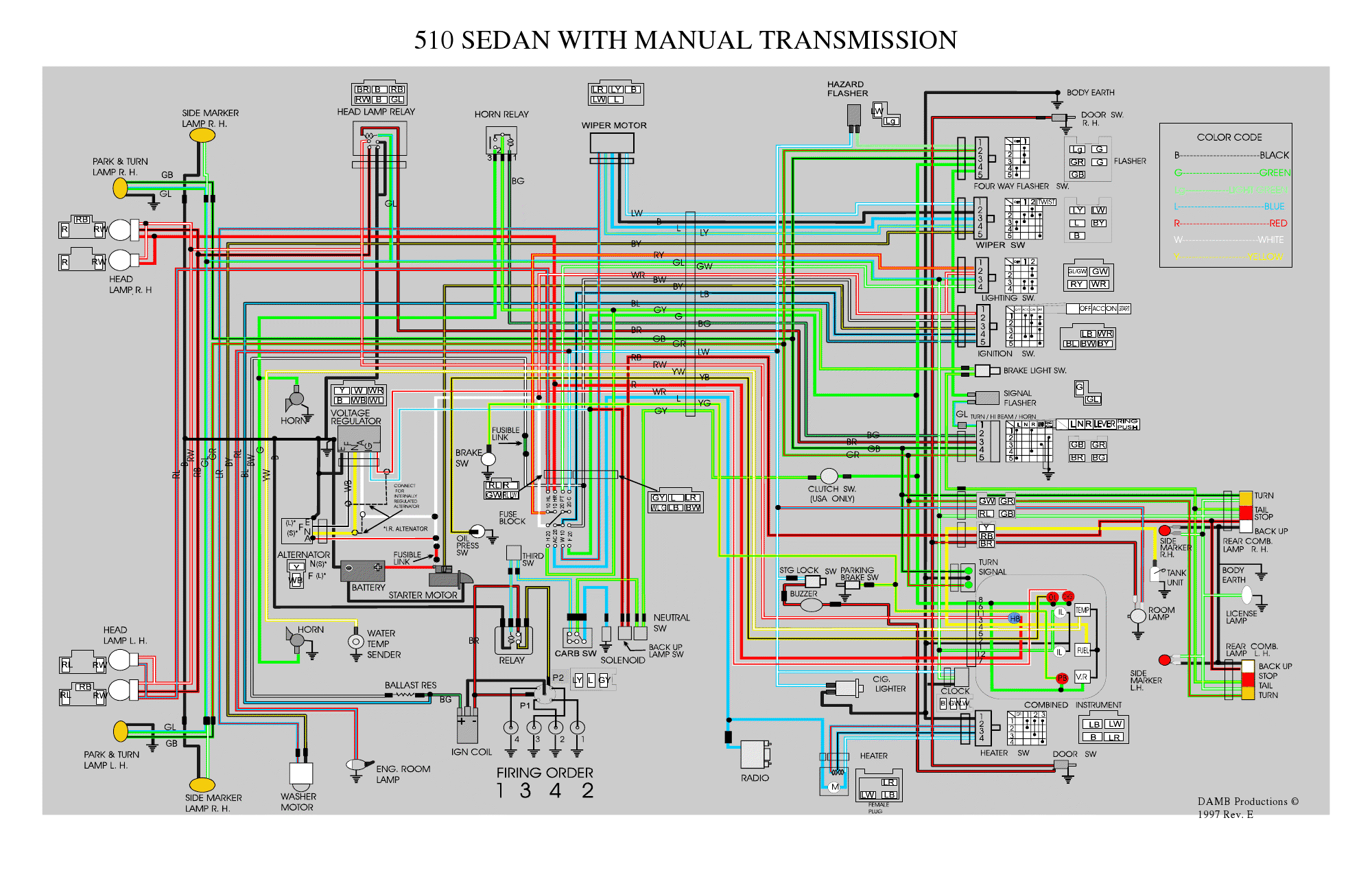Datsun 510 Wiring Diagram on car stereo color wiring diagram